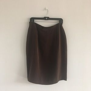 Dresses & Skirts - Chocolate brown silk skirt, sz 14